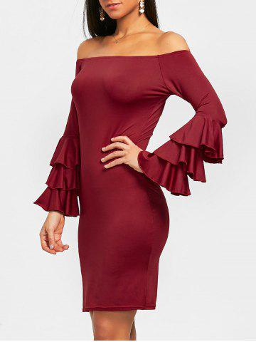 Affordable Flare Sleeve Off Shoulder Mini Bodycon Dress