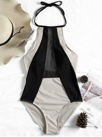 Best Mesh Insert Two Tone Backless Swimsuit