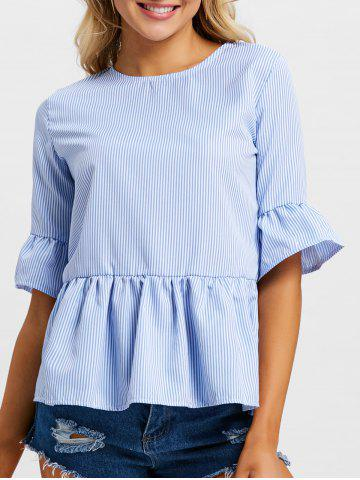 Sale Flare Sleeve Stripe Peplum Blouse