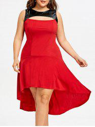 Plus Size Two Tone High Low Dress -