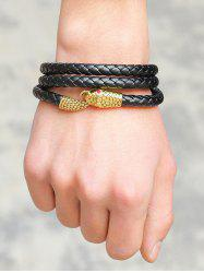 Faux Leather Faux Ruby Snake Layered Braided Bracelet -