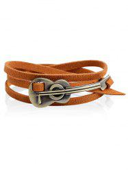 Retro Faux Leather Alloy Cello Wrap Bracelet -