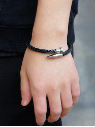 Faux Leather Metal Nail Weaved Bracelet -