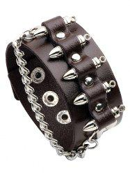 Faux Leather Rock Bullet Chain Punk Bracelet -
