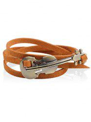 Vintage Metal Violin Faux Leather Layered Bracelet -