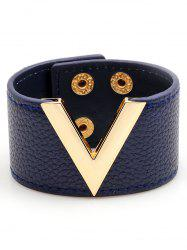 V-Shaped Artificial Leather Wide Bracelet -