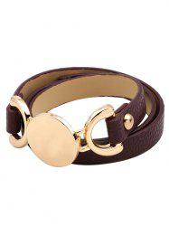 Faux Leather Round Disc Wrap Bracelet -