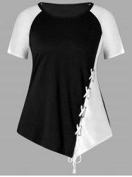 Plus Size Color Block Lace Up T-shirt -