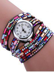 Colorful Rhinestones Quartz Bracelet Wrist Watch -