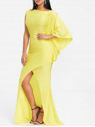 Front Slit Asymmetric Maxi Prom Dress -