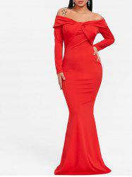 Twist Off The Shoulder Trumpet Prom Dress -