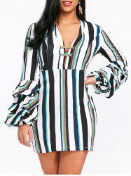 Striped Low Cut Bodycon Dress -