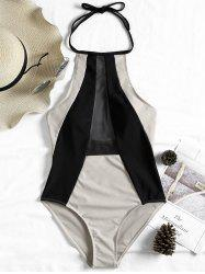 Mesh Insert Two Tone Backless Swimsuit -