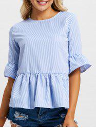 Flare Sleeve Stripe Peplum Blouse -
