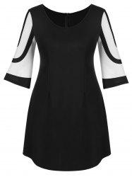 Plus Size Casual Two Tone Dress -