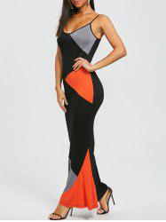 Spaghetti Strap Color Block Long Fishtail Dress -
