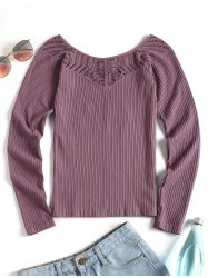 Thumbhole Eyelet Long Sleeve Sport Top -
