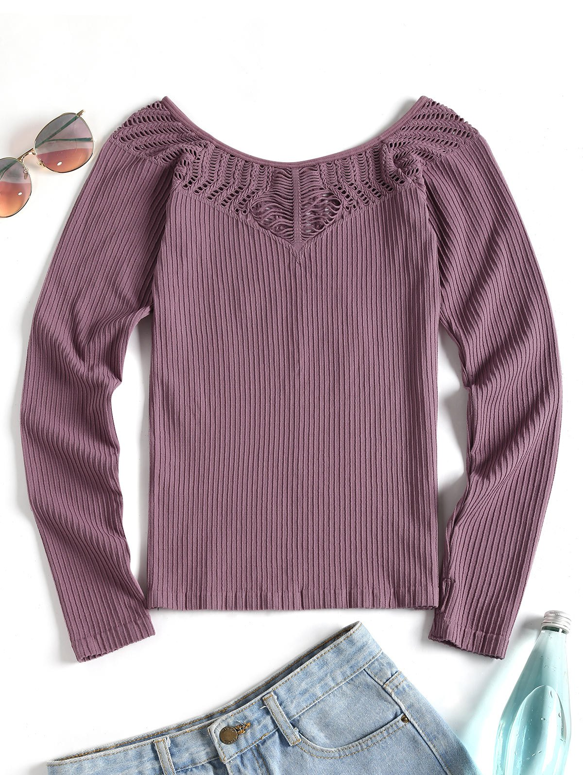 Online Thumbhole Eyelet Long Sleeve Sport Top