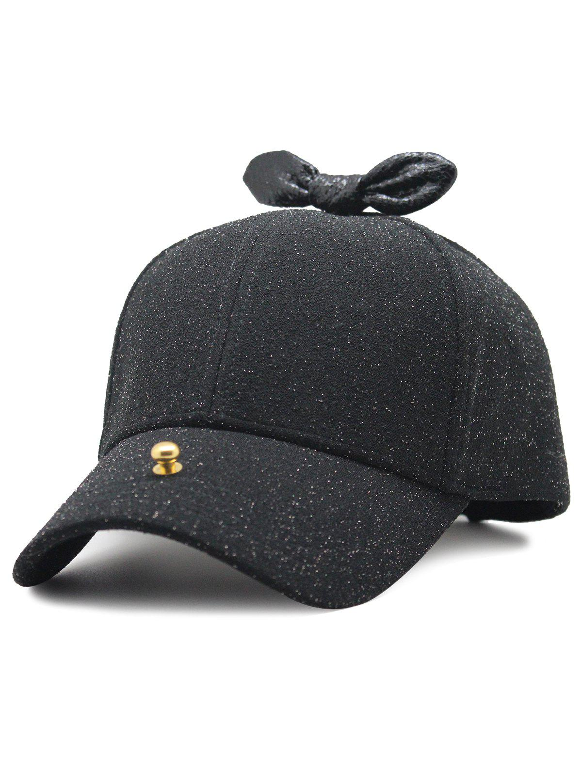 Sale Unique Bowknot Embellished Glitter Baseball Hat