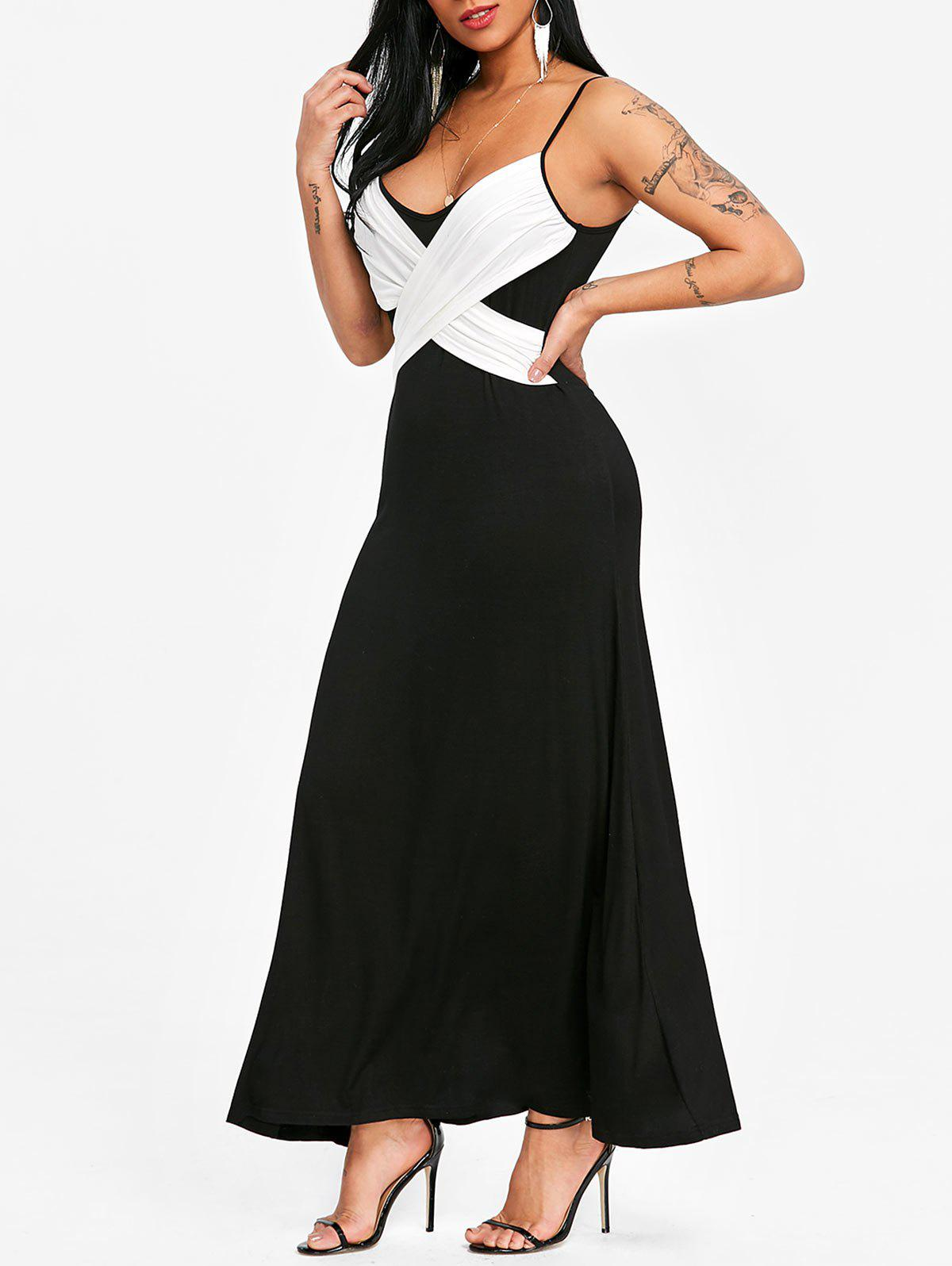 Discount Spaghetti Strap Two Tone Long Evening Dress