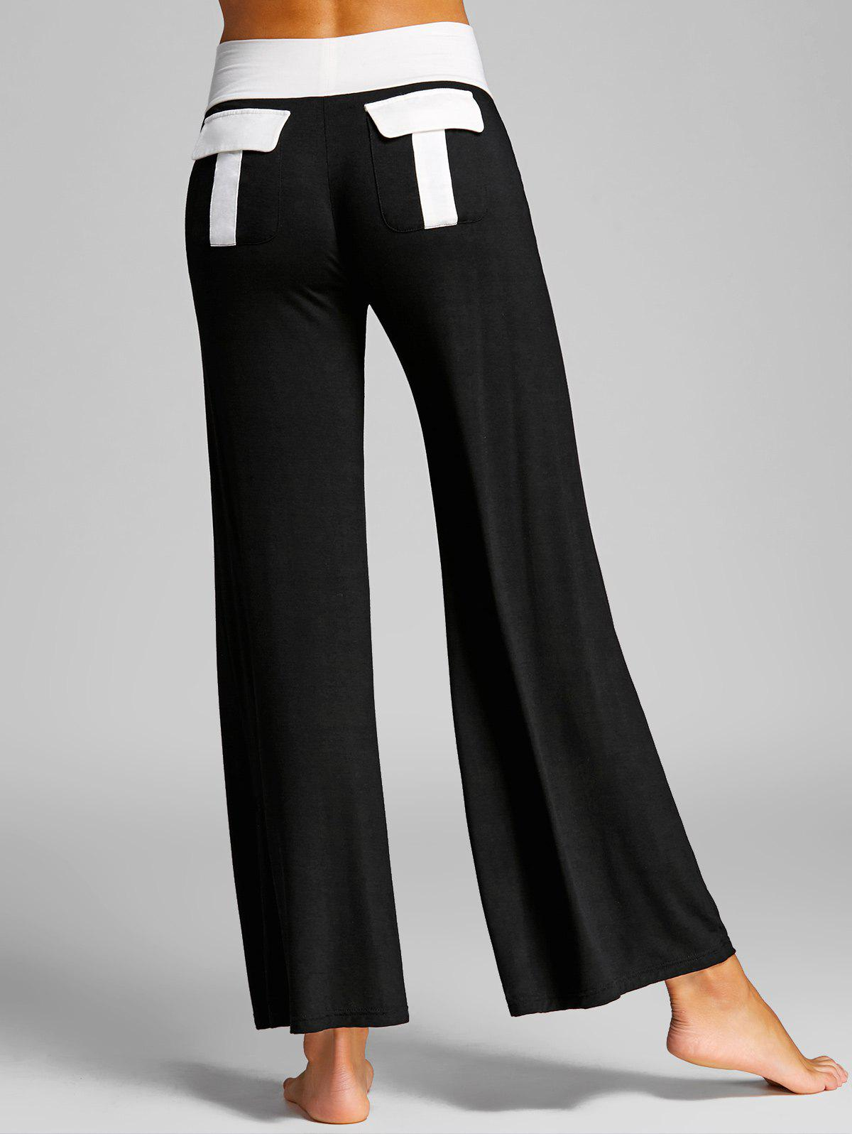 Store High Waisted Color Block Palazzo Pants