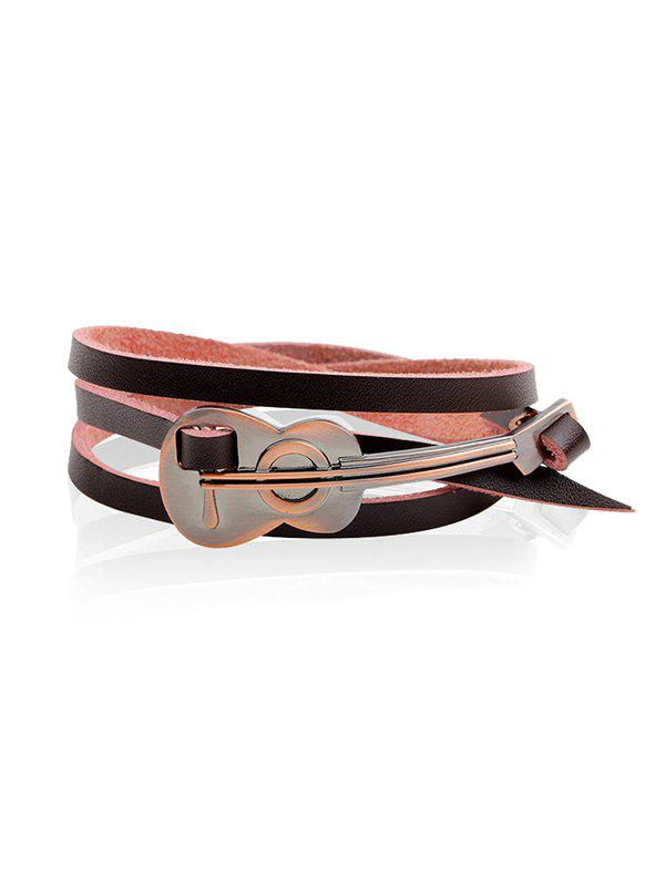 Buy Retro Faux Leather Alloy Cello Wrap Bracelet