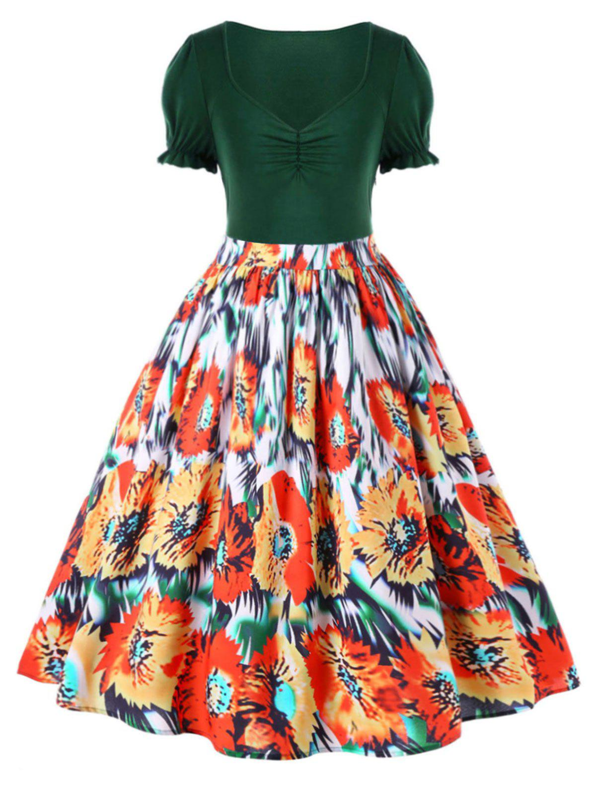 Latest Plus Size Floral Retro Tea Length Dress