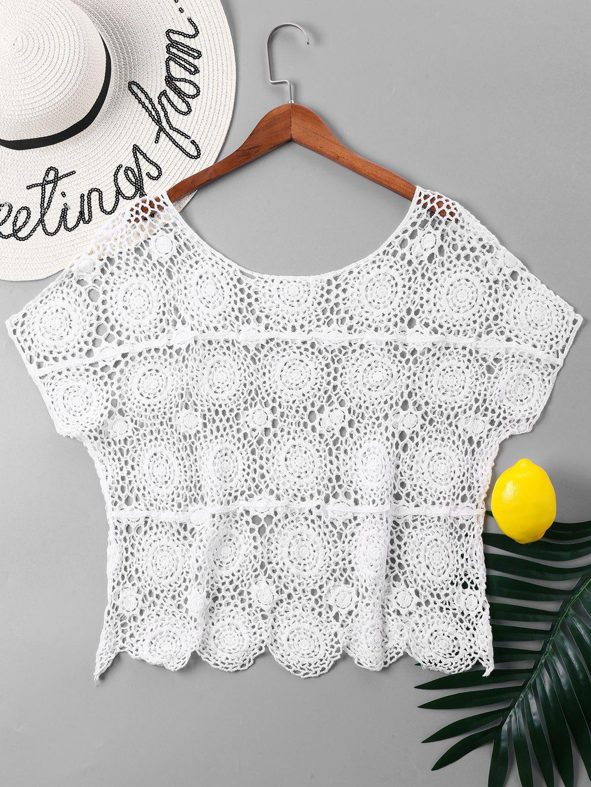 Unique Short Sleeve Crochet Cover Up Top