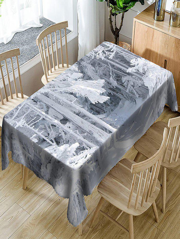 Fashion Snow-covered Wood Print Fabric Waterproof Table Cloth