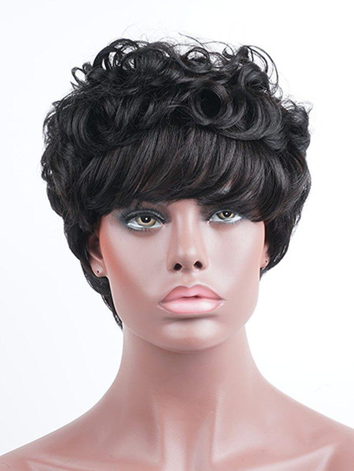 Outfit Short Side Bang Fluffy Layered Curly Human Hair Wig