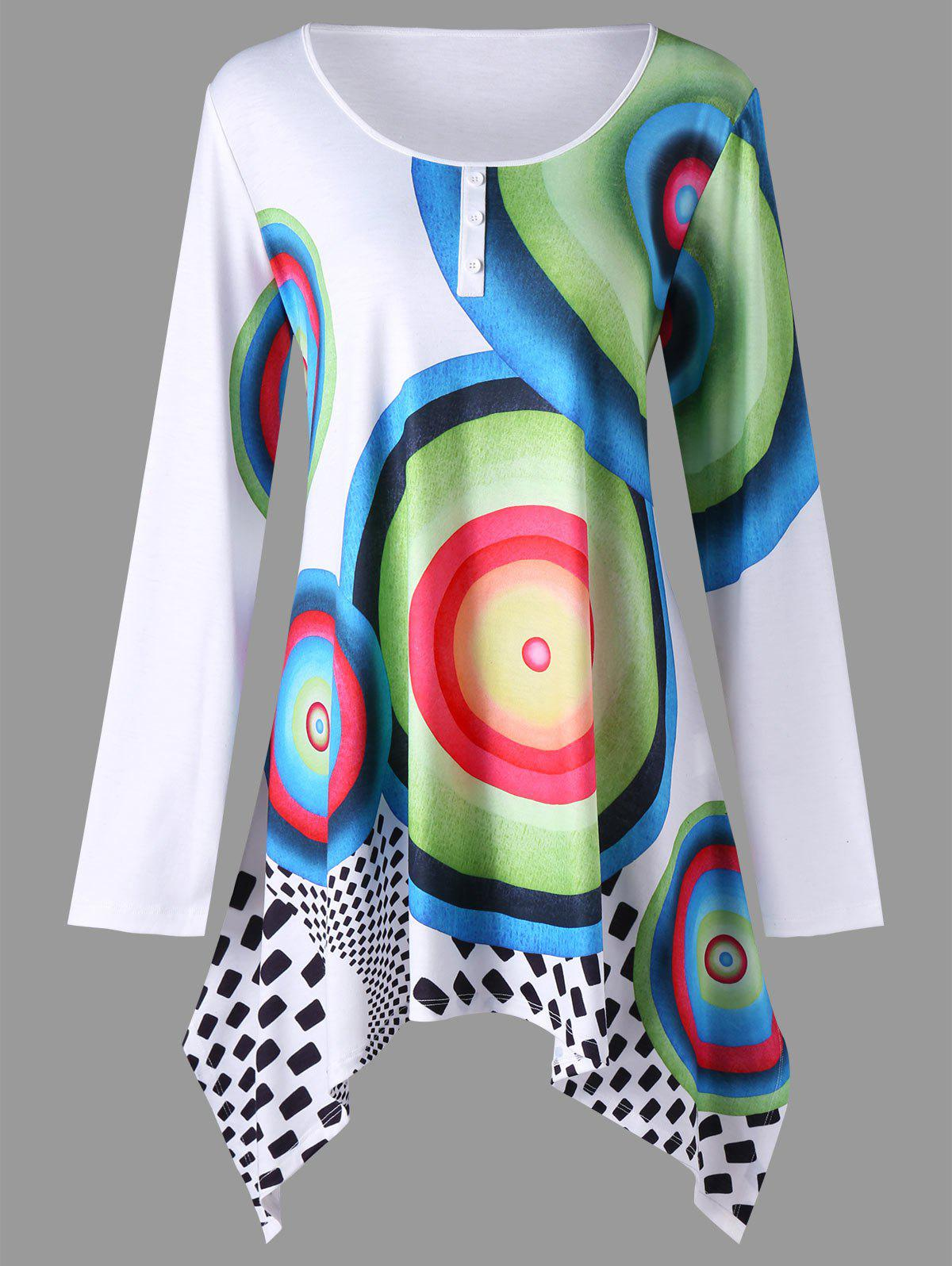 Fancy Plus Size Graphic Crescent Hem Tunic T-shirt