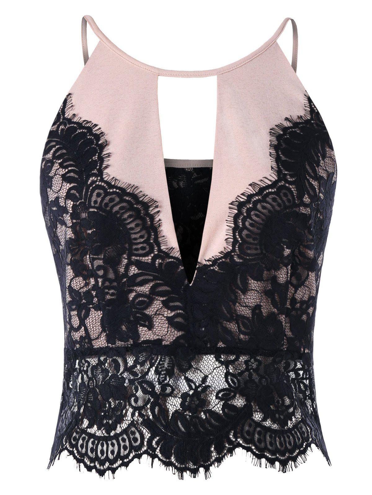 Trendy Lace Eyelash Panel Scalloped Edge Camisole