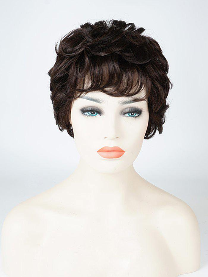 Cheap Short Inclined Bang Layered Wavy Human Hair Wig