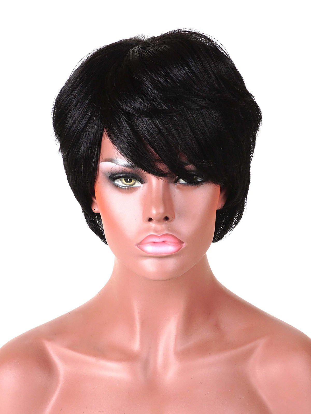 Latest Short Side Bang Layered Straight Human Hair Wig