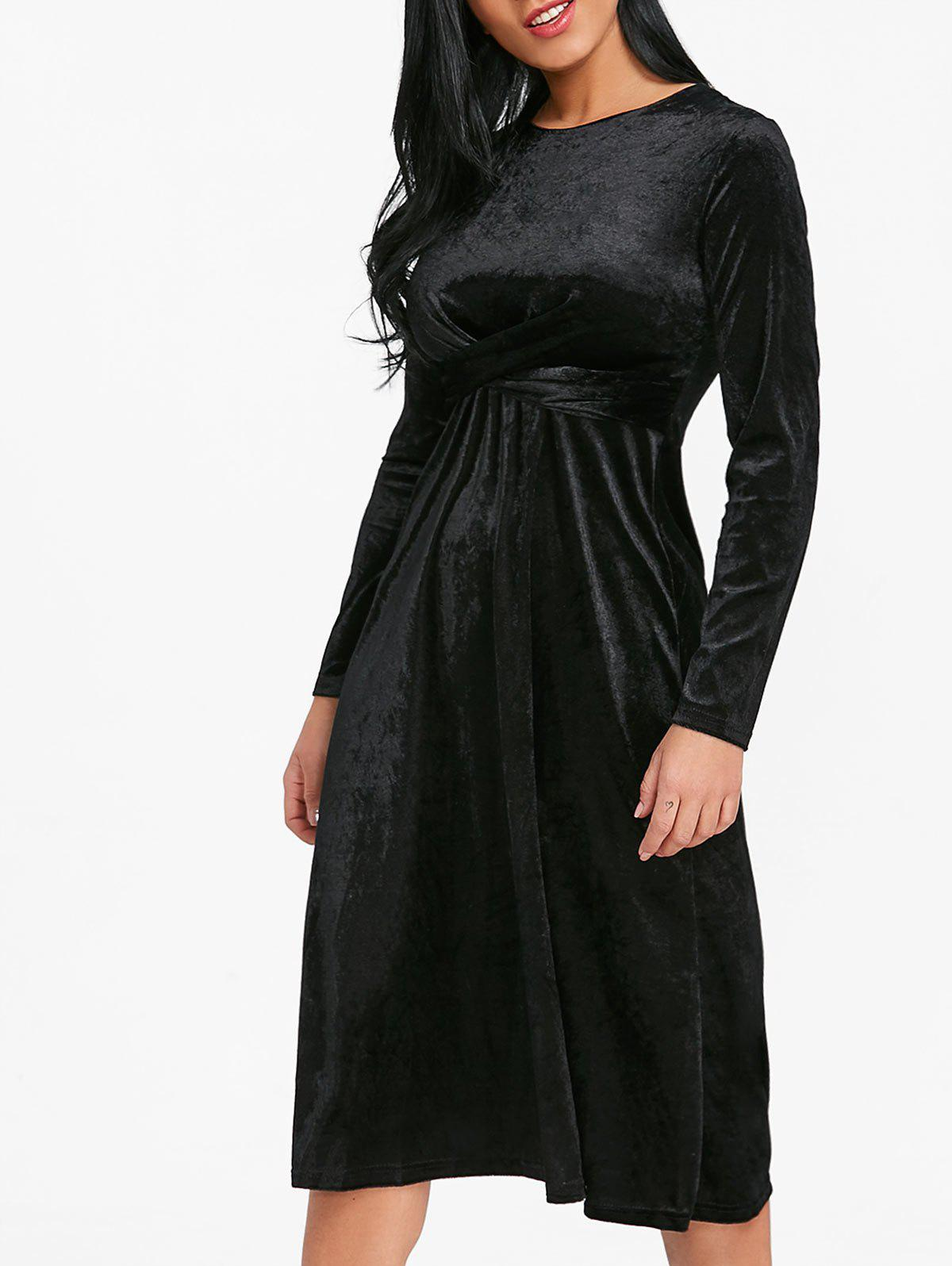 Affordable Velvet Twist Front Midi A Line Dress