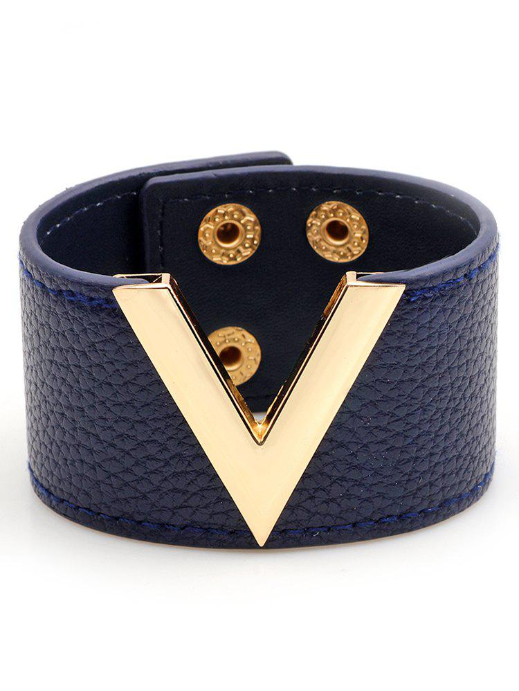 Shop V-Shaped Artificial Leather Wide Bracelet