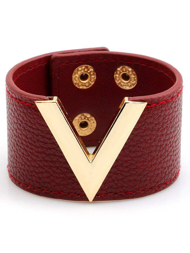 New V-Shaped Artificial Leather Wide Bracelet