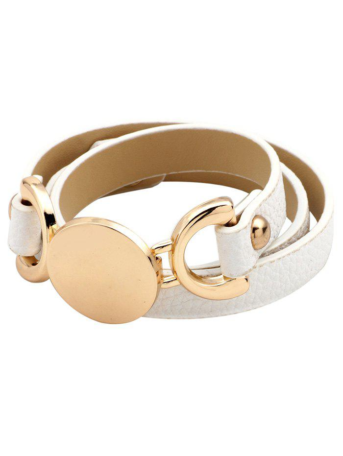 Hot Faux Leather Round Disc Wrap Bracelet