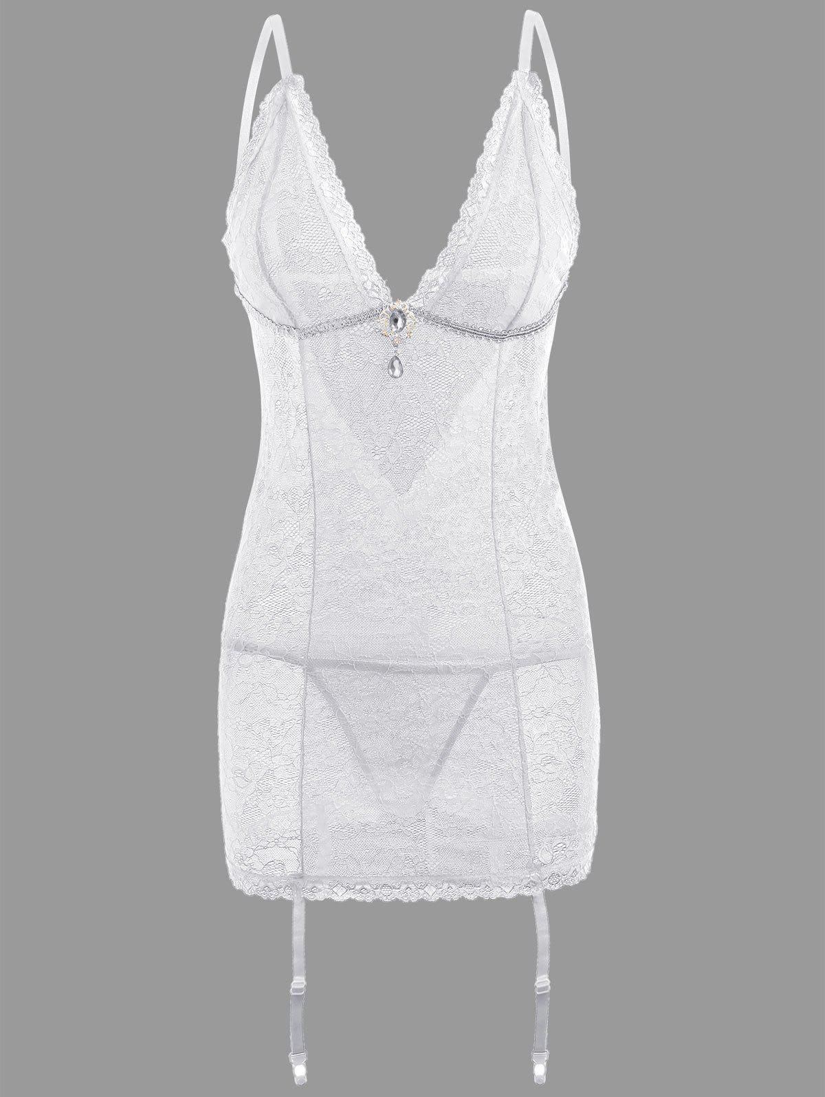 Online Lace Sheer Slip Babydoll with Garters
