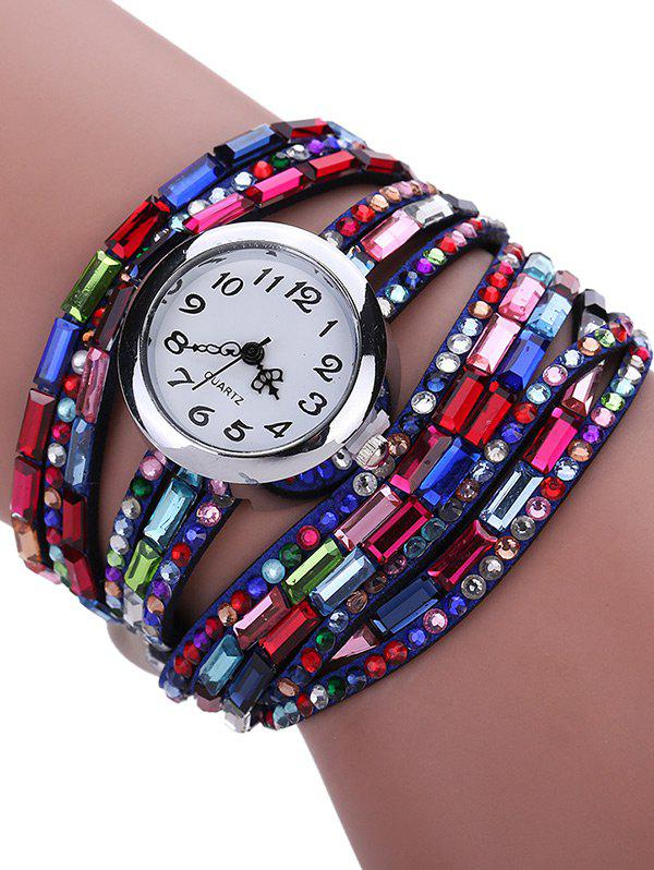 Shops Colorful Rhinestones Quartz Bracelet Wrist Watch