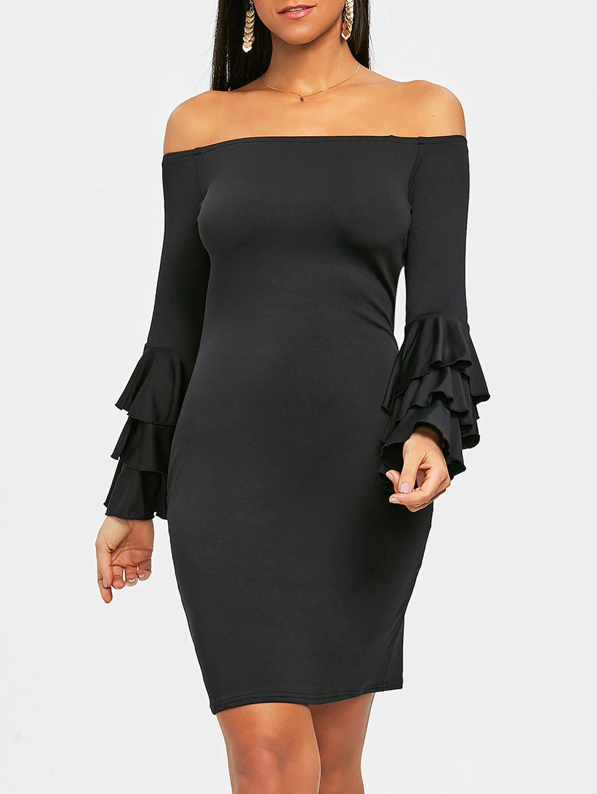 Sale Flare Sleeve Off Shoulder Mini Bodycon Dress