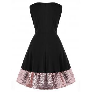 Plus Size Sleeveless Sequin Hem Dress -