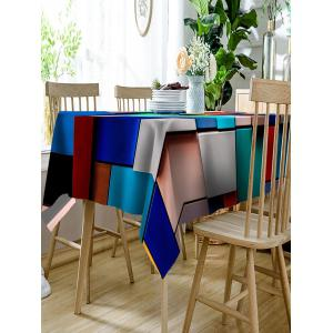 Colorful Rectangles and Squares Print Fabric Table Cloth -