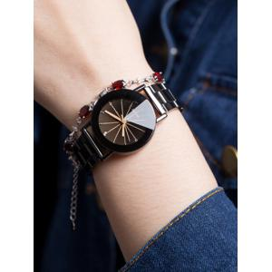 Rhinestone Geometric Ray металлический ремешок Lover Analog Watch -