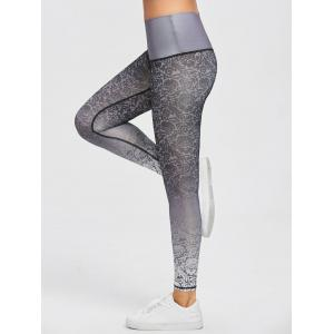 Active Brocade Ombre Print Tights Leggings -