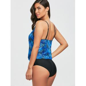 Printed Mesh Low Cut Surplice Swimsuit -