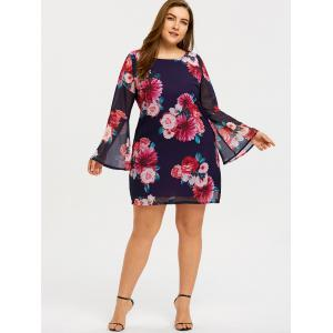Plus Size Floral Bell Sleeve Dress -