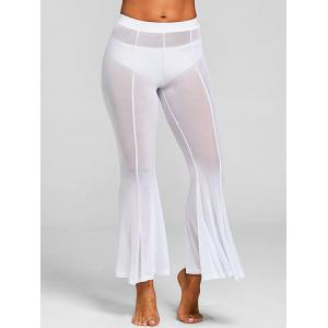 Sheer Mesh Cover-up Flare Pants with Split -