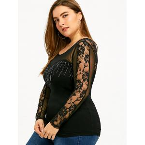 Plus Size Embellished Mesh Trim T-shirt -
