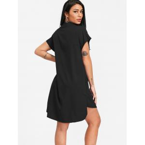 Plunging Neck High Low Shirt Dress -